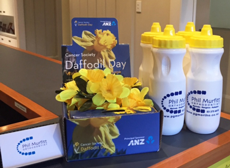 Phil Murfitt Orthodontist water bottles Daffodil Day